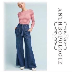 Pilcro Anthropologie Tie Wide Leg High Rise Jeans